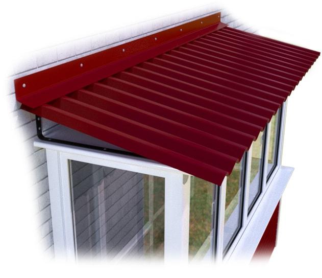 красная крыша на балконе